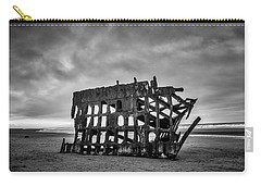 Weathered Rusting Shipwreck In Black And White Carry-all Pouch