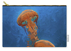 Carry-all Pouch featuring the painting Weightless - Pacific Nettle Jellyfish Study  by Karen Whitworth
