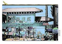 Welcome To Chinatown Sign Blue Carry-all Pouch