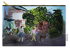 Carry-all Pouch featuring the painting West End Shopping by Donna Walsh