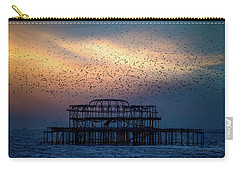 Carry-all Pouch featuring the photograph West Pier Murmuration by Chris Lord