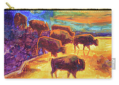 Western Buffalo Art Bison Creek Sunset Reflections Painting T Bertram Poole Carry-all Pouch by Thomas Bertram POOLE