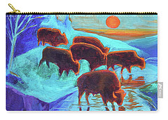 Western Buffalo Art Six Bison At Sunset Turquoise Painting Bertram Poole Carry-all Pouch