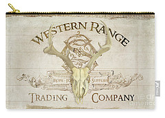 Carry-all Pouch featuring the painting Western Range 3 Old West Deer Skull Wooden Sign Trading Company by Audrey Jeanne Roberts