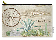 Carry-all Pouch featuring the painting Western Range 4 Old West Desert Cactus Farm Ranch  Wooden Sign Hardware by Audrey Jeanne Roberts