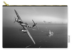 Carry-all Pouch featuring the photograph Westland Whirlwind Attacking E-boats Black And White Version by Gary Eason