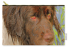 Carry-all Pouch featuring the photograph Wet Newfie by Debbie Stahre