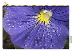 Carry-all Pouch featuring the photograph Wet Pansy by Jean Noren