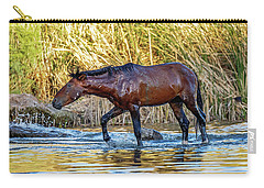 Wet Wild Horse Walking In Salt River Carry-all Pouch