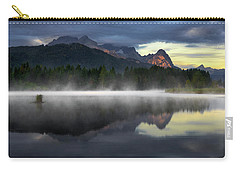Wetterstein Mountain Reflection During Autumn Day With Morning Fog Over Geroldsee Lake, Bavarian Alps, Bavaria, Germany. Carry-all Pouch