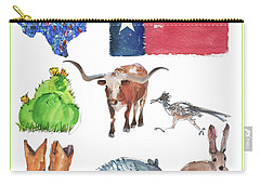 What Texas Loves, Texas Longhorn Watercolor Painting By Kmcelwaine Carry-all Pouch