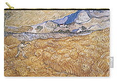 Carry-all Pouch featuring the painting Wheat Field With Reaper Harvest In Provence by Artistic Panda