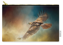 When The Redtail Flies At Sunset Hawk Art Carry-all Pouch