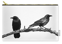Which Way Two Black Crows On White Square Carry-all Pouch