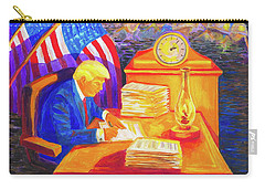 While America Sleeps - President Donald Trump Working At His Desk By Bertram Poole Carry-all Pouch by Thomas Bertram POOLE