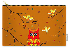 Whimsical Autumn Colors - Birds Owls Carry-all Pouch