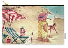 Whimsical Bear On The Beach Carry-all Pouch
