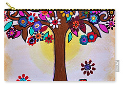 Carry-all Pouch featuring the painting Whimsical Blooming Tree by Pristine Cartera Turkus