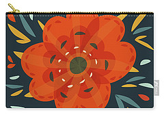 Whimsical Decorative Orange Flower Carry-all Pouch