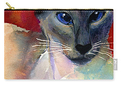 Whimsical Siamese Cat Painting Carry-all Pouch