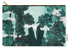 Carry-all Pouch featuring the painting Whimsical Wintry Trees by Karen Nicholson
