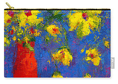 Abstract Floral Art, Modern Impressionist Painting - Palette Knife Work Carry-all Pouch