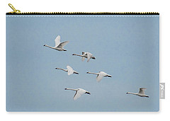 Whistling Swan In Flight Carry-all Pouch