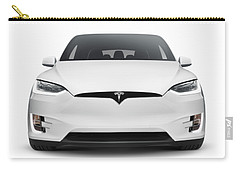 White 2017 Tesla Model X Luxury Suv Electric Car Front Isolated Art Photo Print Carry-all Pouch