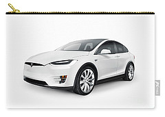 White 2017 Tesla Model X Luxury Suv Electric Car Isolated Carry-all Pouch