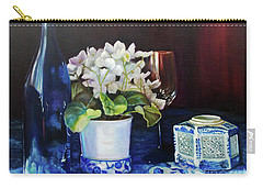 Carry-all Pouch featuring the painting White African Violets by Marlene Book