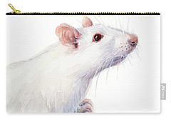White Albino Rat Watercolor Carry-all Pouch