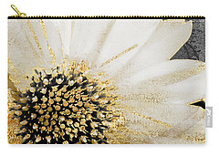 White And Gold Daisy Carry-all Pouch by Mindy Sommers
