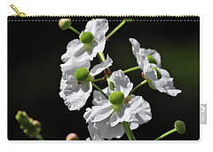 White And Green Wildflowers Carry-all Pouch