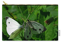 White And Grey Green Wings Carry-all Pouch