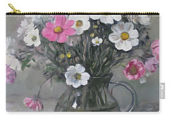 White And Pink Cosmos Bouquet In Water Pitcher No. 2 Carry-all Pouch
