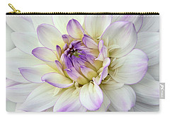 White And Purple Dahlia Carry-all Pouch