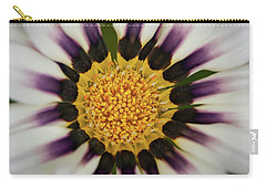 White And Purple Zinnia With Yellow Carry-all Pouch