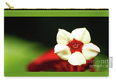 White And Red Flower Carry-all Pouch