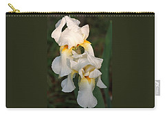 Carry-all Pouch featuring the photograph Two White Bearded Iris At Dusk by Sheila Brown