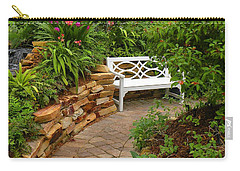 White Bench In The Garden Carry-all Pouch by Rosalie Scanlon