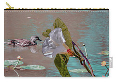 Carry-all Pouch featuring the photograph White Bindweed And Mandarin Duck Mix #g5 by Leif Sohlman