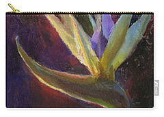 Carry-all Pouch featuring the painting White Bird Of Paradise -tropical Flower Painting by Karen Whitworth
