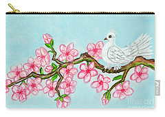 White Bird On Branch With Pink Flowers, Painting Carry-all Pouch