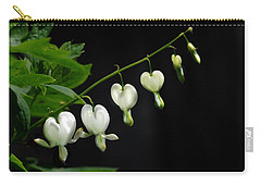 Carry-all Pouch featuring the photograph White Bleeding Hearts by Susan Capuano