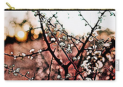 White Blossom Branches Carry-all Pouch by Carol Crisafi