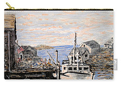 Carry-all Pouch featuring the painting White Boat In Peggys Cove Nova Scotia by Ian  MacDonald