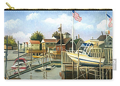 White Boat With Flags In Broad Channel Carry-all Pouch