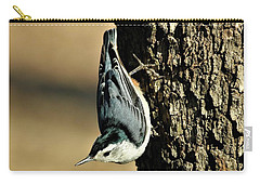 White-breasted Nuthatch On Tree Carry-all Pouch by Sheila Brown
