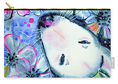 Carry-all Pouch featuring the painting White Bull Terrier And Butterfly by Zaira Dzhaubaeva