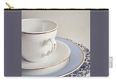 Carry-all Pouch featuring the photograph White China Cup, Saucer And Plates by Lyn Randle
